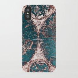 Antique World Map Pink Quartz Teal Blue by Nature Magick iPhone Case