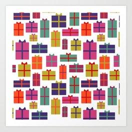 Colorful Christmas presents Art Print