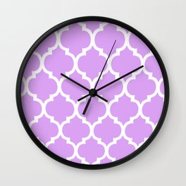 MOROCCAN PURPLE VIOLET AND WHITE PATTERN Wall Clock