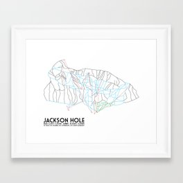 Jackson Hole, WY - Minimalist Trail Map Framed Art Print