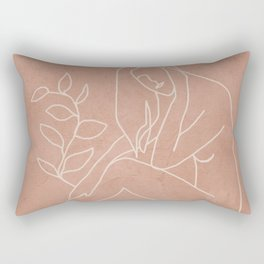 Engraved Nude Line I Rectangular Pillow