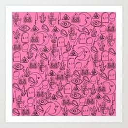 Pink Halloween Pattern Art Print