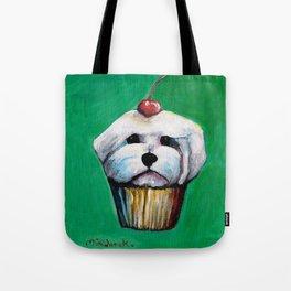 """Cherry on Pup"" Maltese Cake Tote Bag"
