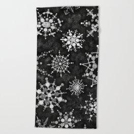Gray Snowflakes Beach Towel