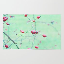 Red Berrys on light Green Ground Rug