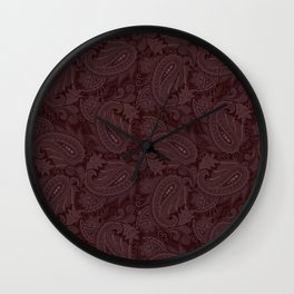 Meredith Paisley - Wine Red Wall Clock