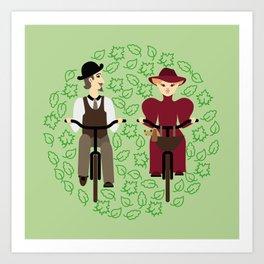 Retro cyclists. Summer Art Print