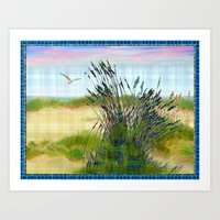 Plaid Beachscape with Seagrass Art Print