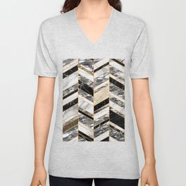 Abstract Chevron Pattern - Black and White Marble Unisex V-Neck