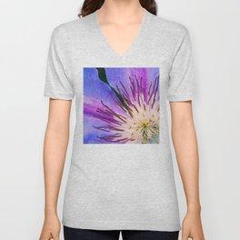 Blue-Lilac Lily Pad Floral Elegantly Cropped Close-Up Unisex V-Neck