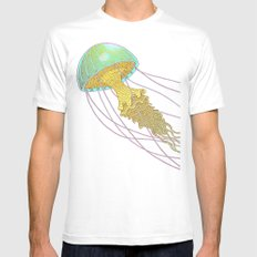 jellyfish MEDIUM White Mens Fitted Tee