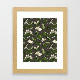 Spellbooks, green Framed Art Print