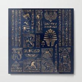 Egyptian hieroglyphs and deities-gold on blue marble Metal Print