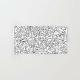 Graffiti Black and White Pattern Doodle Hand Designed Scan Hand & Bath Towel