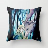 thranduil Throw Pillows featuring Thranduil by quelm