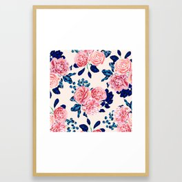 Girly Pink Navy Blue Country Painted Flowers Framed Art Print