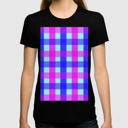 blue pink checks T-shirt