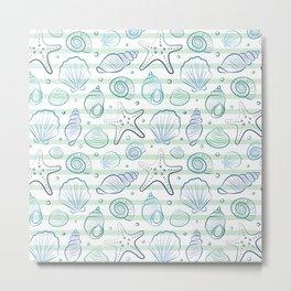 Sea shells illustration pattern. Blue with stripes. Summer ocean beach print. Metal Print
