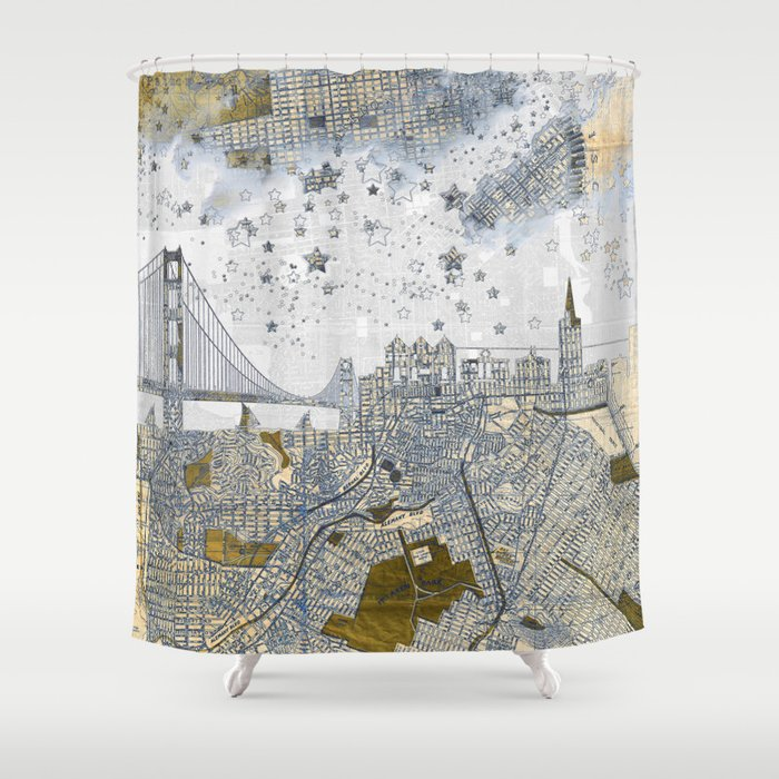 San Francisco skyline old map Shower Curtain by belle13   Society6