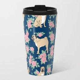 Pug florals rose pattern minimal modern pet friendly dog breed custom pet art Travel Mug