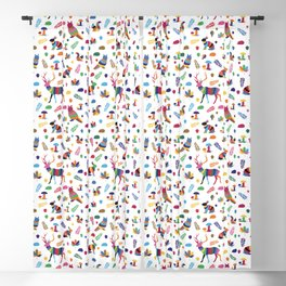 colorful woodland animals Blackout Curtain