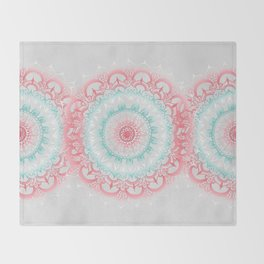 Teal & Coral Glow Medallion Throw Blanket