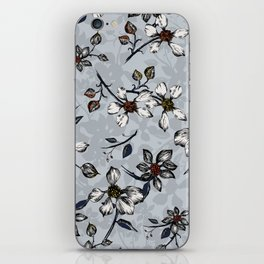 Botanical Pattern on Grey Background iPhone Skin
