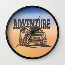 adventure off-road car trip Wall Clock