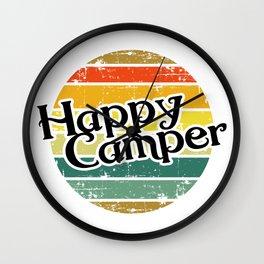 Happy Camper / Retro Vintage Camper Camping Wall Clock