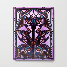 Pink Blue and Green Glowing Art Nouveau Stain Glass Design Metal Print