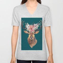 Winter Deer Teal Unisex V-Neck