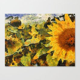 VG style fields of sunflowers Canvas Print