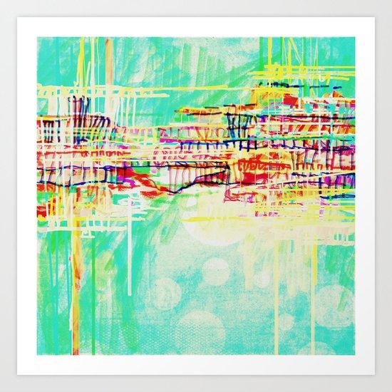 futuristic world in turquoise Art Print
