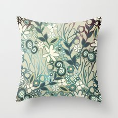 Detailed square of green and ocre floral tangle Throw Pillow