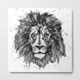 Black and White Lion Head Metal Print