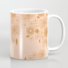 Chicory and Daisies British Wildflowers Vintage Florals Blush Pink And Mustard Boho Flowers Coffee Mug