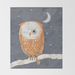 Winking Owl by the Light of the Moon Throw Blanket