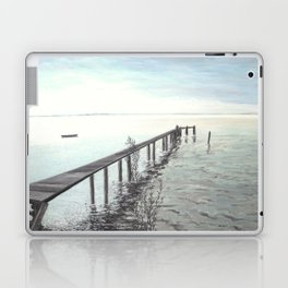 Bootssteg am Ammersee in Bayern - Ölbild Laptop & iPad Skin