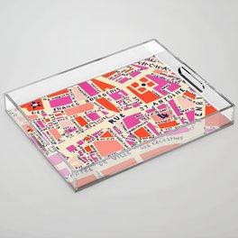 paris map pink Acrylic Tray