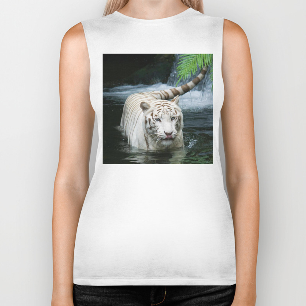 White Tiger In The River Biker Tank by Akuenol BKT7693170
