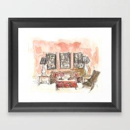 Vintage 90s Living Room Painting Framed Art Print