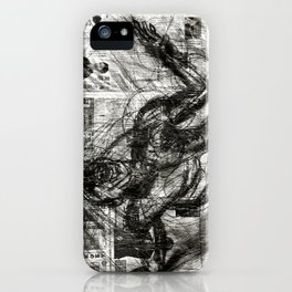 Breaking Loose - Charcoal on Newspaper Figure Drawing iPhone Case