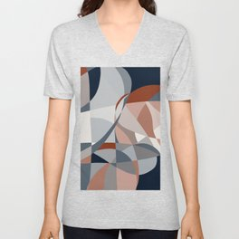 Navy and Rust (XIV) Abstract Unisex V-Neck
