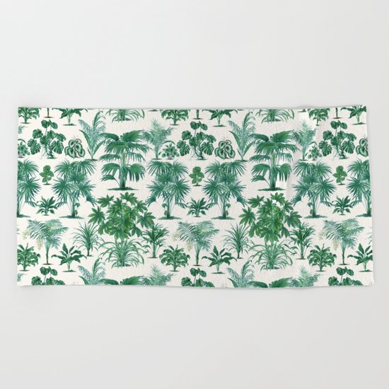 Exotic Tropical Palm Print Beach Towel