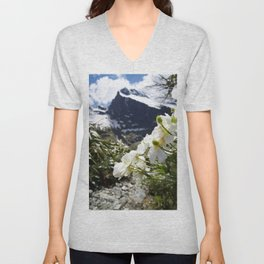 White Flowers and Mountain Pass (Milford Sound) Unisex V-Neck