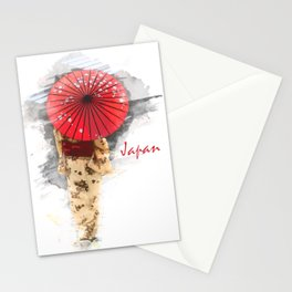 Japanese woman wearing a kimono and holding an umbrella Stationery Cards