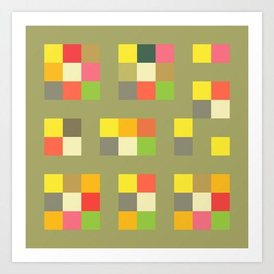 Citrus Squares Art Print