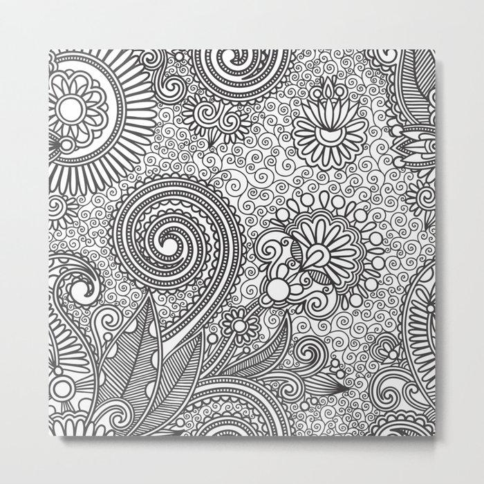 Floral B&W Metal Print