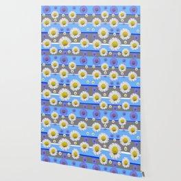 DECORATIVE BLUE MODERN ART WHITE SHASTA DAISIES Wallpaper