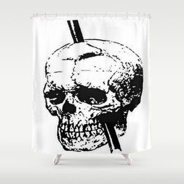 The Skull of Phineas Gage Vintage Illustration Shower Curtain